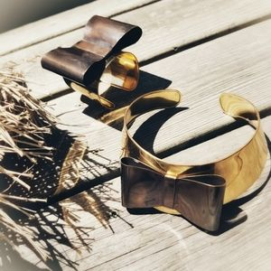 Gold bow brass choker cuff set bold necklace